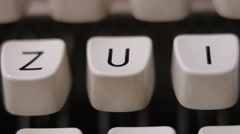 Male finger typing letter U on old, retro typewriter. Stock Footage