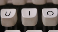 Male finger typing letter I on old, retro typewriter. Stock Footage
