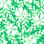 White hibiscus flowers and leaf seamless pattern Stock Illustration