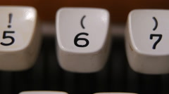 Male finger typing number 6 on old, retro typewriter Stock Footage