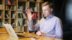 Man discussing project  in video conference Stock Footage