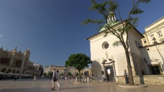 Cracow's market square in sunlight. Stock Footage