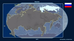 Russia - 3D tube zoom (Kavrayskiy VII projection). Bumps Stock Footage