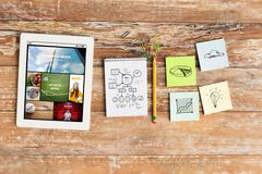 close up of notebook, stickers and tablet pc - stock photo