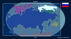 Russia - 3D tube zoom (Kavrayskiy VII projection). Continents Stock Footage