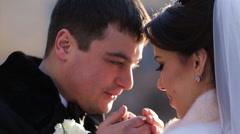 Bride runs to the groom, hugging him Stock Footage