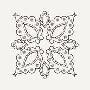 Vector mandala. Mehndi lace tattoo. Oriental weave - stock illustration