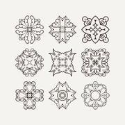 Set of ornate vector mandala symbols. Mehndi lace tattoo. Oriental weave - stock illustration