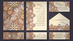 Invitation card collection, delicate floral pattern. Vintage decorative eleme Stock Illustration