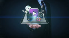 Businessman open palms, music download service function for mobile. front view. Stock Footage