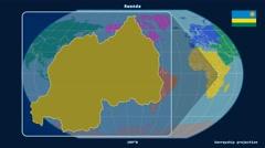 Rwanda - 3D tube zoom (Kavrayskiy VII projection). Continents - stock footage