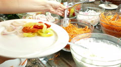 Fresh salad in restaurant Stock Footage