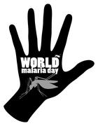 World malaria day poster with mosquito and hand Piirros