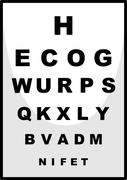 Reading chart for ophthalmologist Stock Illustration