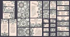 Business card collection. Vintage mandala decorative elements. Hand drawn bac - stock illustration