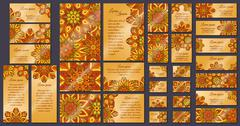Business card collection. Vintage mandala decorative elements. Hand drawn bac Stock Illustration