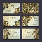Business card collection, delicate floral mandala pattern. Vintage decorative Stock Illustration