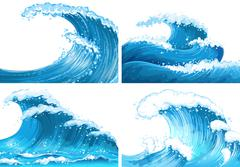Four scenes of ocean waves Piirros
