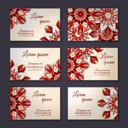 Business card collection, delicate floral mandala pattern. Vintage decorative - stock illustration