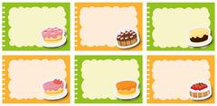 Label design with different flavor of dcakes Stock Illustration