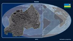 Rwanda - 3D tube zoom (Mollweide projection). Bumps - stock footage