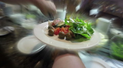 Fresh salad in restaurant time lapse Stock Footage