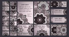 Vector visiting card set template. Floral mandala pattern and ornaments. Orie - stock illustration