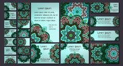 Vector visiting card set template. Floral mandala pattern and ornaments. Orie Stock Illustration