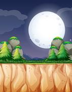 Nature scene with fullmoon and cliff Stock Illustration