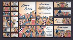 Colorful greeting invitation card illustration set. Flower vector design conc Stock Illustration
