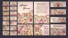 colorful greeting invitation card illustration set. Flower vector design conc - stock illustration
