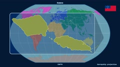 Samoa - 3D tube zoom (Kavrayskiy VII projection). Continents Stock Footage