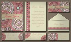 Invitation card collection with ethnic hand drawn decorative elements. Islam, - stock illustration