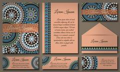 Invitation card collection with ethnic hand drawn decorative elements. Islam, Stock Illustration