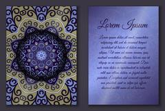Invitation card set with mandala ornament Stock Illustration