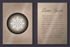 Invitation card set with mandala ornament - stock illustration
