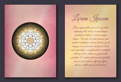 Invitation card set with mandala ornament - stock illustration