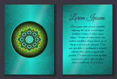 Invitation card set with mandala ornament Stock Illustration