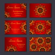 visiting card and business card set with mandala. Abstract oriental design la - stock illustration