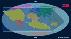 Samoa - 3D tube zoom (Mollweide projection). Continents - stock footage