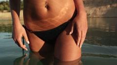 adorable sexy girl in bikini - stock footage