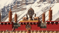 Buddhism Symbols Mountains India Stock Footage
