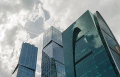 Blue skyscraper facade, office buildings Kuvituskuvat