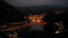 China Fenghuang Night Panorama Historical Center Stock Footage