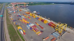 Container yard in the seaport Stock Footage