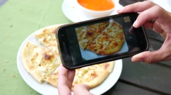 Food photo take picture of dish via smart phone camera for social media Stock Footage