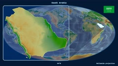 Saudi Arabia - 3D tube zoom (Mollweide projection). Bumps shaded - stock footage