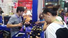 Free taste of blueberry wine - stock footage