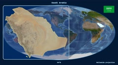 Saudi Arabia - 3D tube zoom (Mollweide projection). Satellite - stock footage