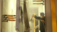 Painting chamber. painting of metal parts. Stock Footage